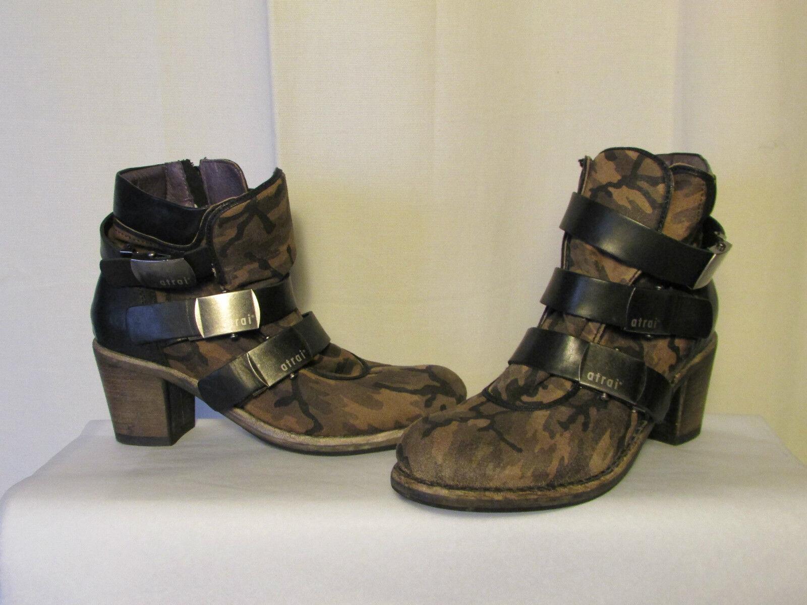 Stivali/stivali ATRAI camoscio camouflage e cuoio nero 41