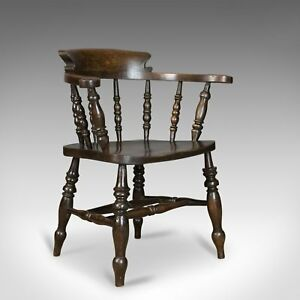 Image Is Loading Antique Armchair English Victorian Elm Bow Back Smokers