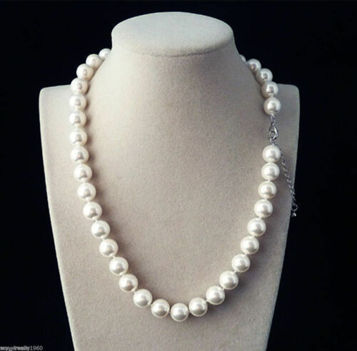 Natural White 10mm Real South Sea Shell Pearl Necklace 18/'/'