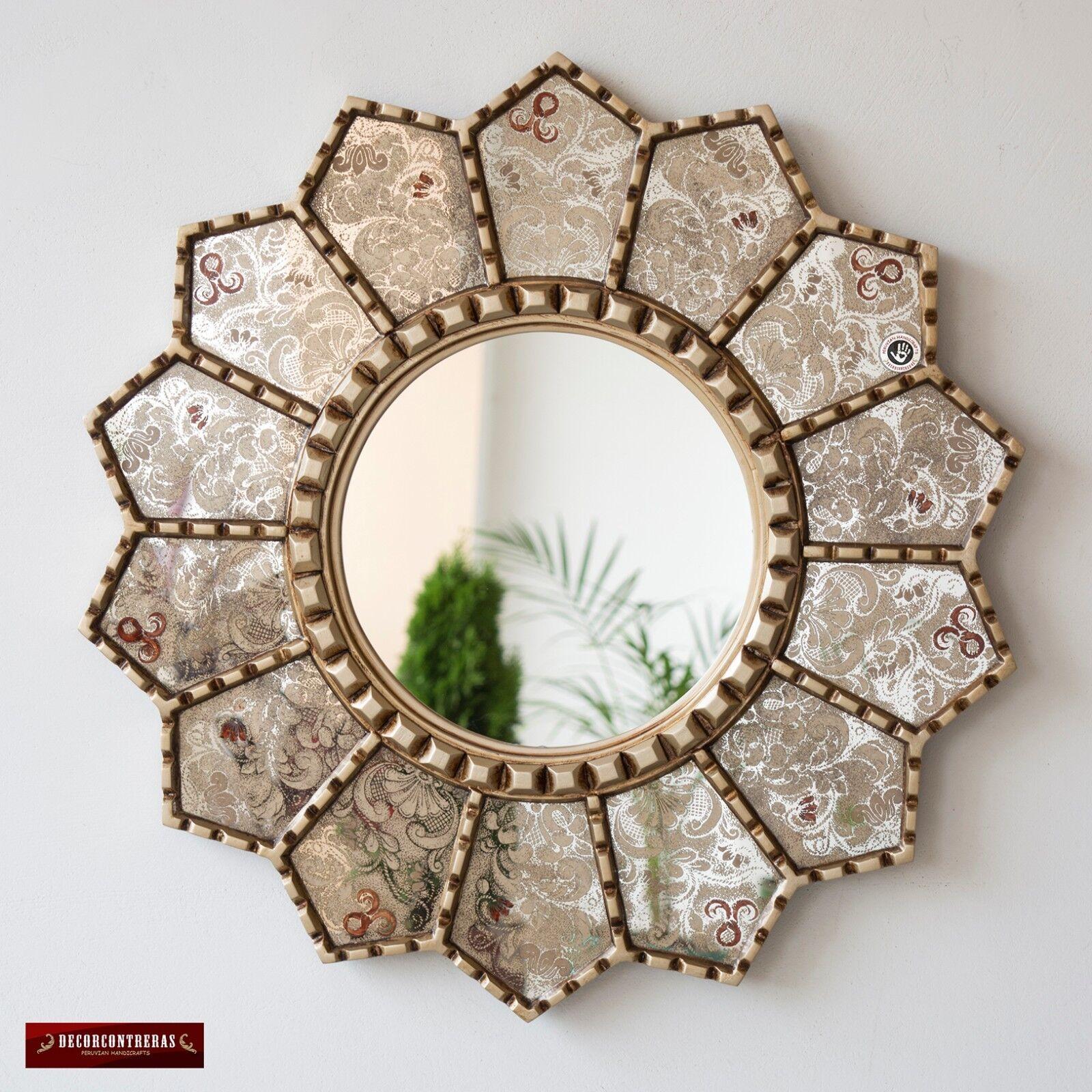 Handmade Eglomise Round wall Mirror 23.6 , Peruvian luxury Sunflower Mirror wall