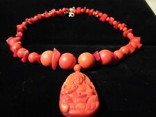 Vintage Genuine Undyed Salmon Red Coral Carved Guanyin Pendant Necklace 68gr
