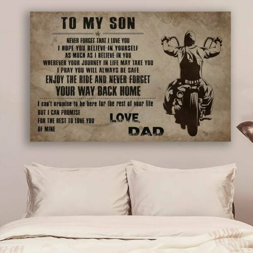 LVL BIKER POSTER YOUR WAY BACK HOME Wall Decor Poster TO MY SON no frame
