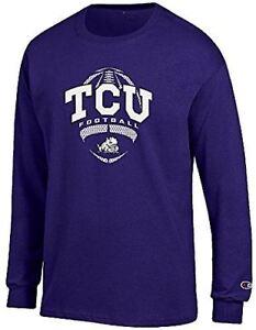 f8564bce768c75 TCU Horned Frogs Purple Football Long Sleeve Tee Shirt by Champion ...