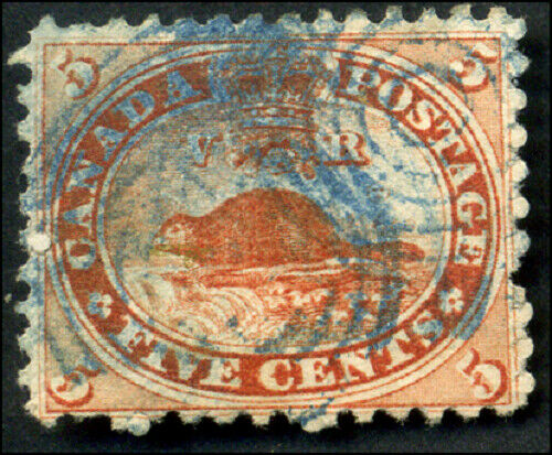 Canada #15 used F-VF 1859 First cents 5c vermilion Beaver VERY RARE BLUE cancel