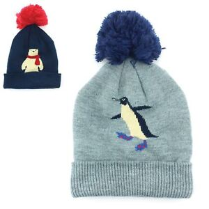 e1a5f4069a4 Beanie Hat Cap Winter Warm Kids Childrens Pom Penguin Polar Bear ...