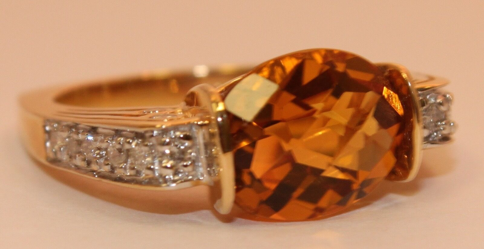 Estate 3.25 Citrine Oval Cut & .25ct Diamond 14K Solid Yellow gold RIng