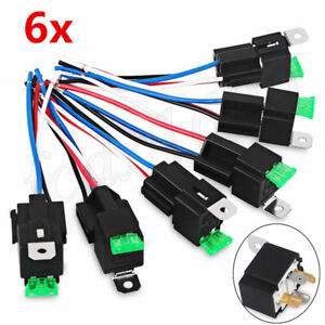6x ATV Motorcycle Relay Wire Harness 12V 4 Pin SPST 30A Fuse Holder  Blade Relay Wiring on 4 blade remote control, 4 blade cooling fan, 4 blade circuit breaker, 4 blade wheel,