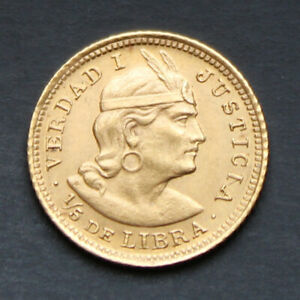 Piece-Or-Perou-1-5eme-Libra-1925-1-6-grammes-or-pur-917-1000-Peru-Gold-Coin-RARE