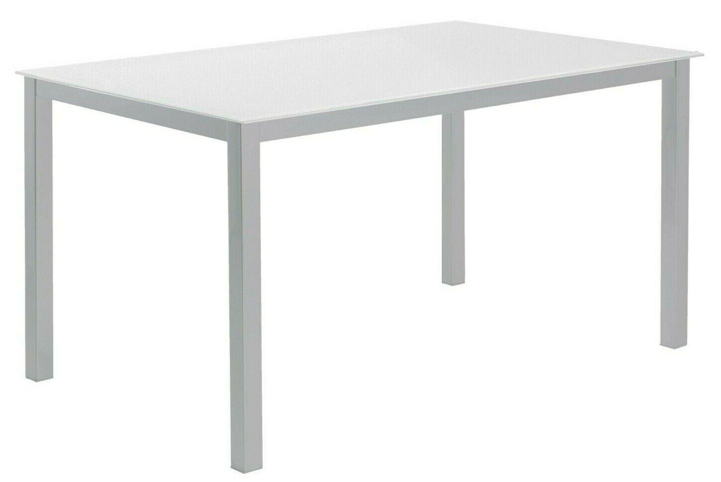 Mesa cocina grande o salon comedor cristal templado blanco y patas ...