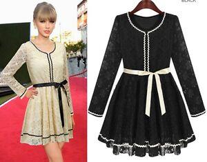 Mini-abito-donna-bordi-in-merletto-cintura-nastro-vestito-party-casual-sera-C677