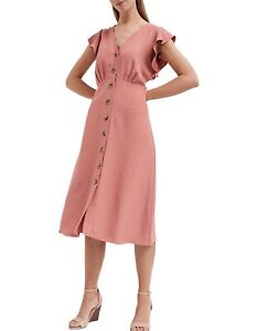 Cooperative Nwt Witchery Frill Button Dress - 12 - Pink Relaxed Fit Flutter Sleeves V-neck Customers First