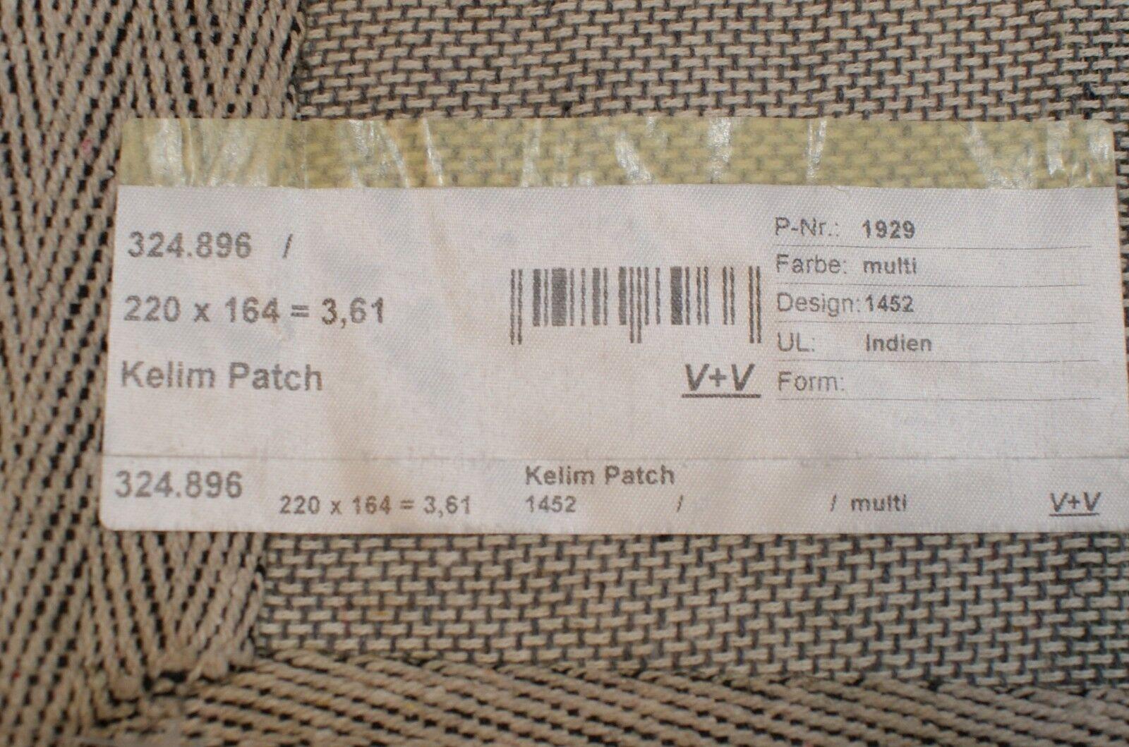 Nr 1452 1452 1452 Handgewebter exklusiver TEPPICH PATCHWORK  HANDARBEIT ca 220 x 164 cm. 4d1a23