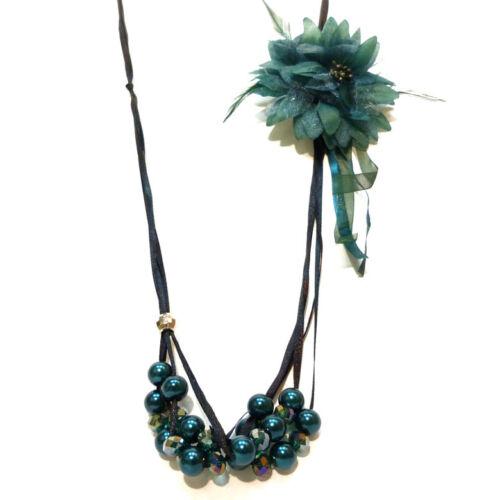 Broche fleur amovible VERT COLLIER SAUTOIR soirée ruban satin Noir perles