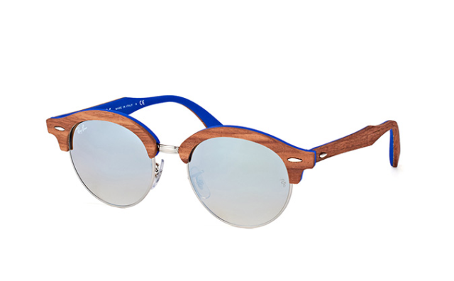 0cb4e41689b Ray-Ban Clubround Wood Men s Gradient Sunglasses with Brown Light Blue Frame  and Silver Flash Lens
