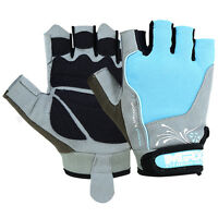 Weight Lifting Gloves Womens Gym Training Fitness Gloves Leather Sky Blue, Large