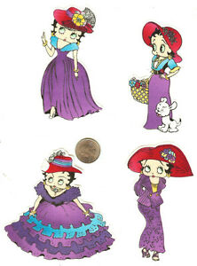 BETTY-BOOP-LADIES-WITH-RED-HATS-4-PCS-FABRIC-APPLIQUE