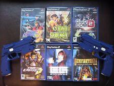 PS2 LIGHT GUN X2 g-con 2 BUNDLE -  NAMCO + 6 GUN GAMES inc TIME CRISIS 3 III