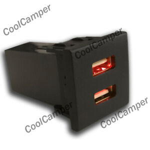 VW-T5-Transporter-Dual-USB-Phone-Charger-Dash-Blank-Switch-Eurovan-Caravelle-RED