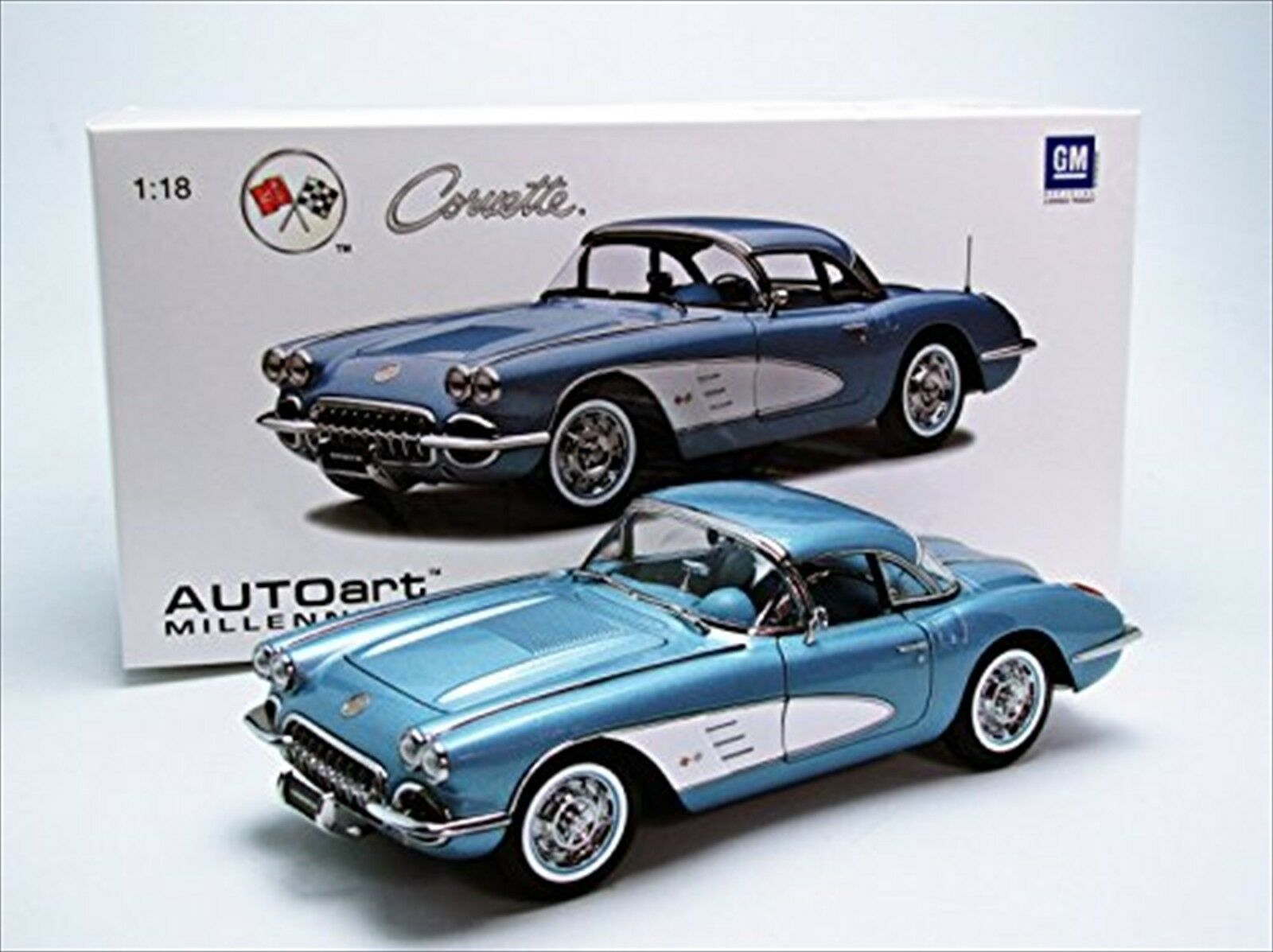 AUTOart 1 18 CHEVROLET Corvette 1958 (Argent Bleu) produit fini 71146 nouveau