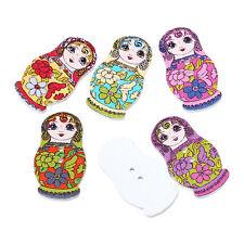 Confezione di 10 LEGNO buttons.fancy Russa Bambola Design 30 x 15 mm per cucito artigianato arte