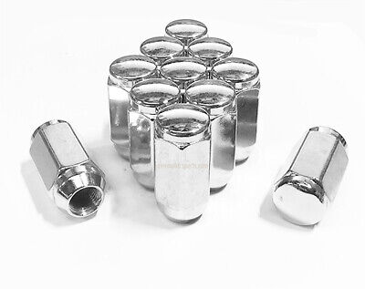 5x 1 21MM TALL COMPATIBLE WITH FORD OPEN END BULGE CHROME ACORN LUG NUTSHEX JEEP DODGE 1//2-20