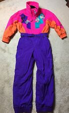 Vintage 1980s NEON TYROLIA Women's 12 Snow Ski Suit Bib Jacket coat Snowsuit