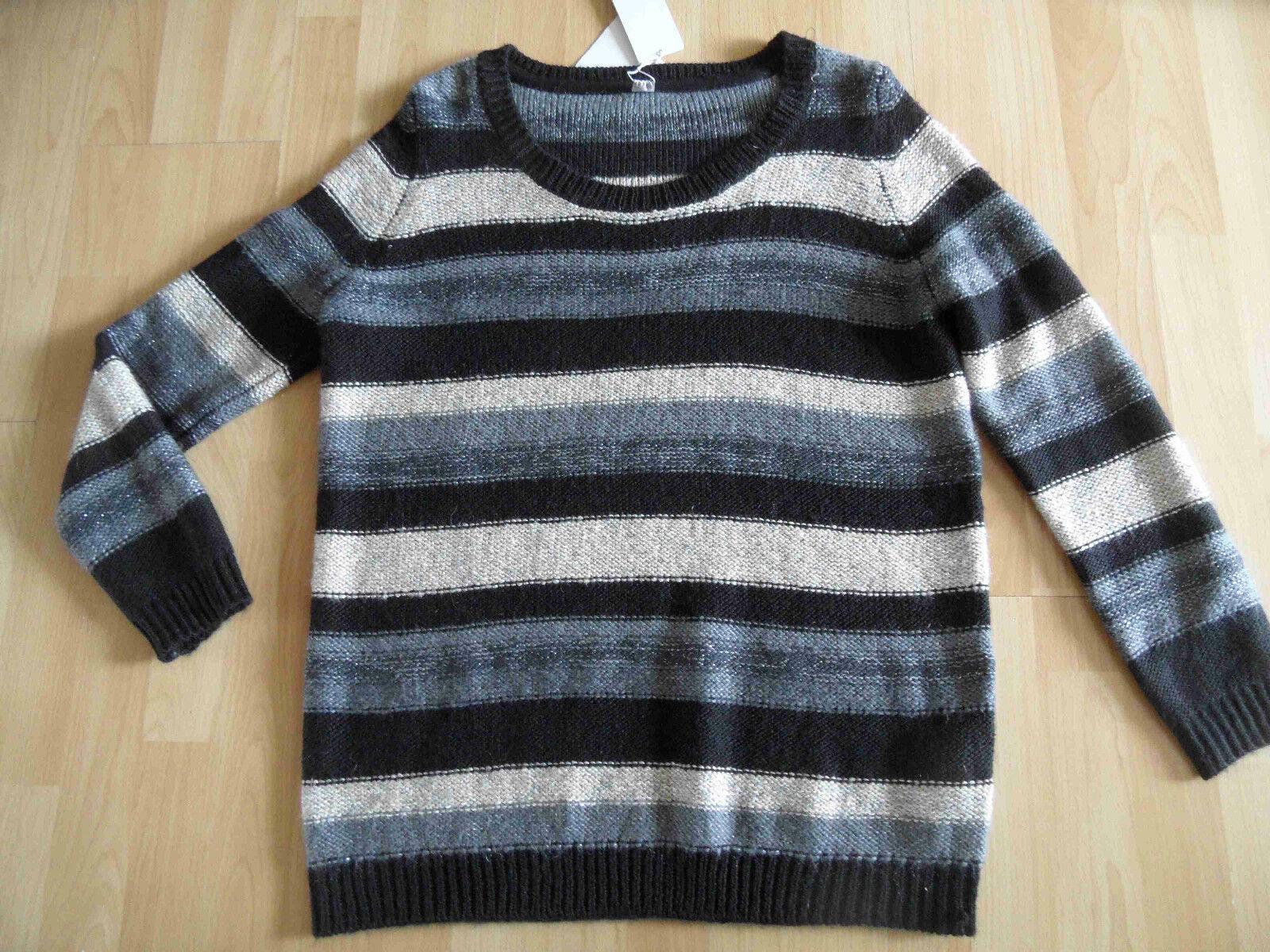 S.OLIVER schöner langer Pullover m. Glitzer gestreift Gr. 46 NEU   Nutzen Sie Materialien voll aus