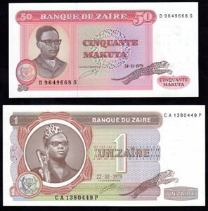 Billets-de-50-Makuta-et-de-1-Zaire-Zaire-Congo-1979-UNC