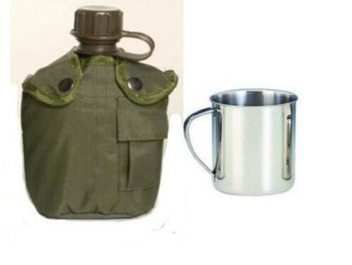 Feldflasche 1 Liter Trinkflasche Wasserflasche mit Edelstahl Trinkbecher 0.22Ltr