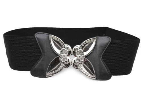 Women Black Elastic Fashion Floral Belt Hip Waist Silver Flower Buckle Size S M