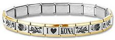 New Italian Charm Bracelets Stainless Steel Gold Trim Fish Modular I Heart Kona
