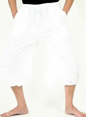 Abile Breve Bolla Bianchi Pantaloni Con Tasche Taglia Unica 100% Cotone Goa Yoga-