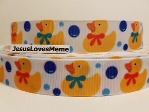 "7//8/"" Rubber Duck,Toys Cute Yellow Duckies Baby Ducks Grosgrain Ribbon"