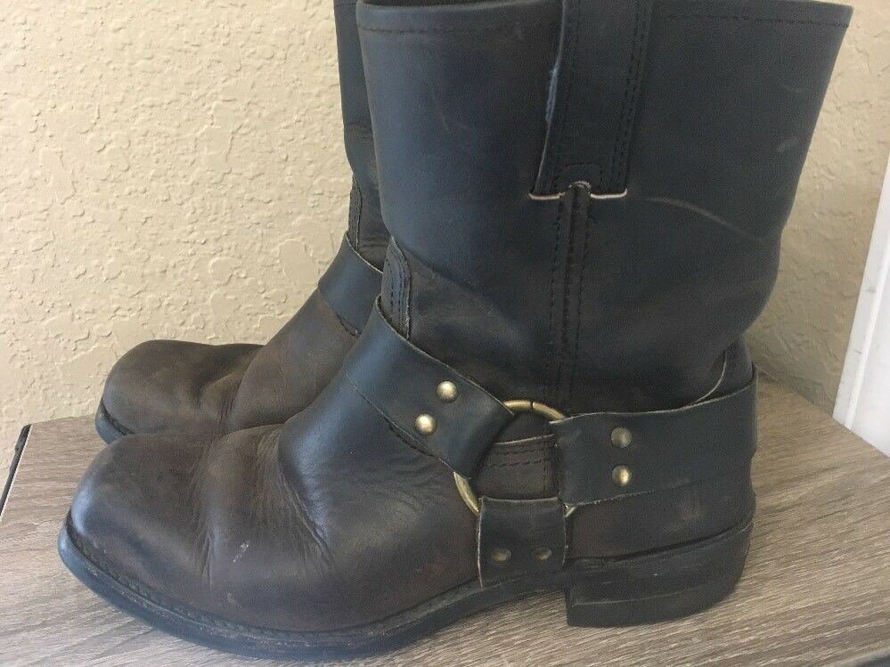Vtg Frye braun Leather Harness Motorcycle Stiefel 87400 Made in USA Men ohne65533;doubs 9 M