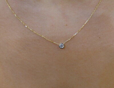 DIAMOND SOLITAIRE BEZELNECKLACE 14K YELLOW GOLD 0.12 CT SI1 CLARITY G COLOR