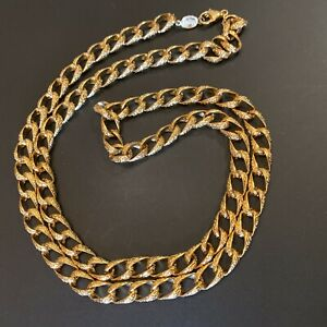 Vintage-Napier-Textured-Gold-Tone-Curb-Link-30-034-Chain-Necklace
