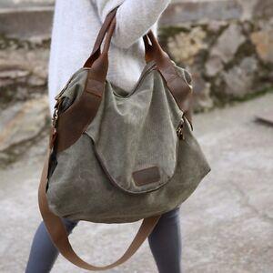 bd97d9929ba1 Details about Large Pocket Casual Women Shoulder Cross body Handbags Canvas  Leather Bags