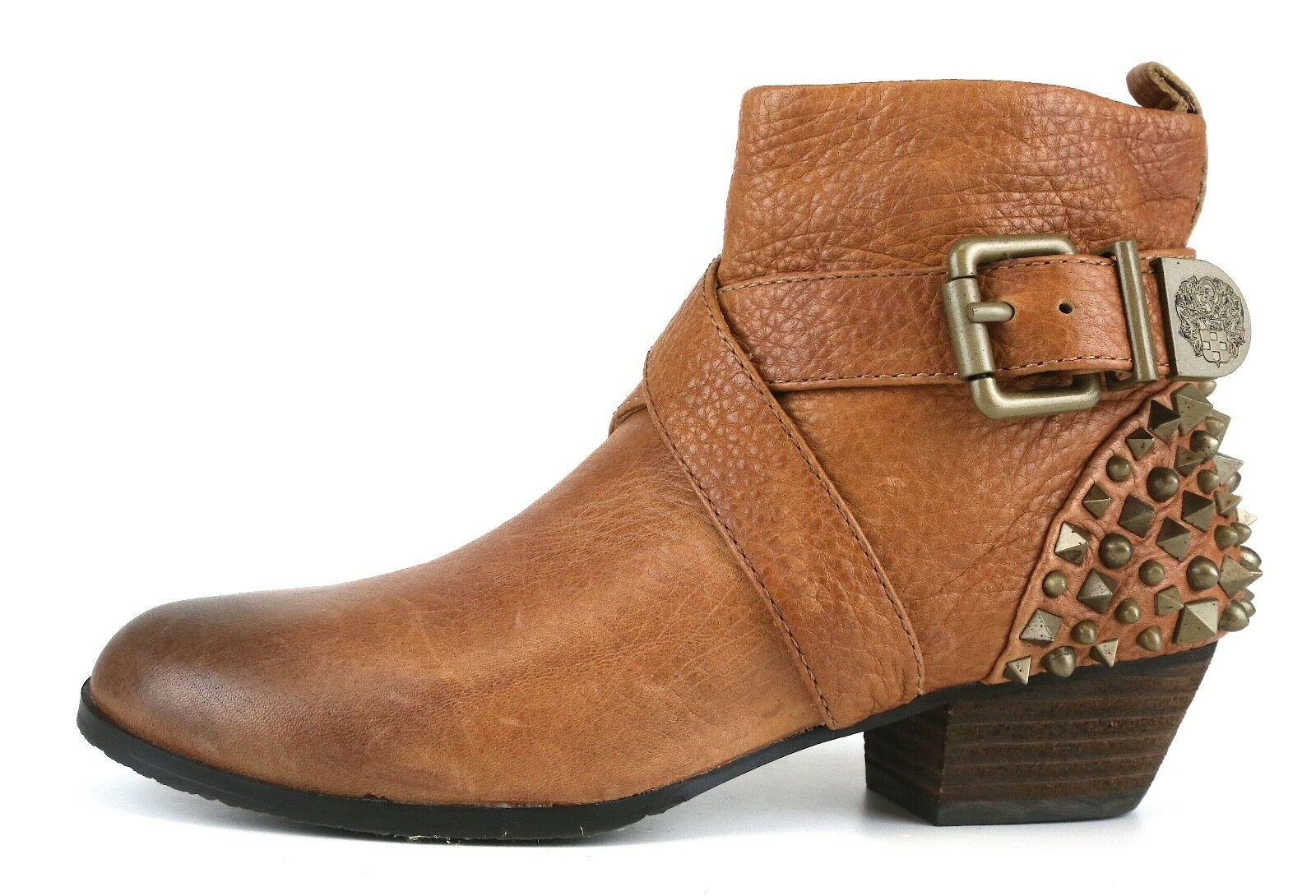 Vince Camuto Marcin Leather Bootie Brown Donna Sz 6 B 5493 *