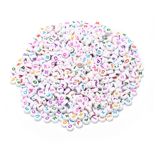 1000x Acrylic Alphabet//Letter Beads DIY Jewelry Making Craft Loose Spacer7x4mmPD