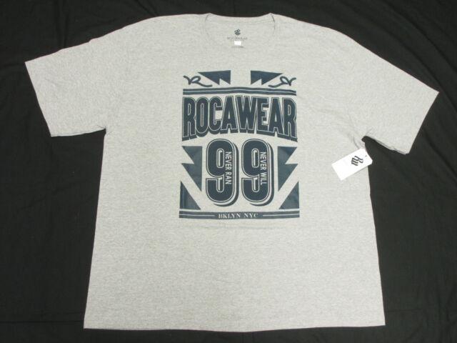 32 NWT NEW Mens Rocawear T Shirt Victory 99 Graphic Tee Grey Urban 3XB 3X