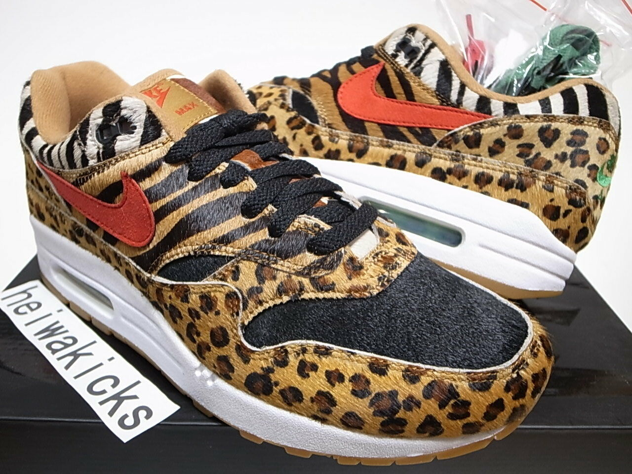 2018 ATMOS x NIKE AIR MAX 1 DLX ANIMAL PACK 2.0 WHEAT SPORT RED AQ0928-700 sz 8