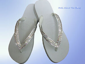 389372d6027c3 Image is loading Havaianas-flip-flops-white-with-OPAL-Swarovski-Crystals-