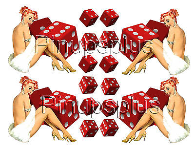 Rockabilly Pin-up Girl with Dice Guitar Waterslide Decals #235