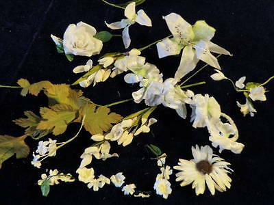 "Vintage Millinery Flower Collection All White w/Garland 1/2-4 1/2"" Hat Hair H326"