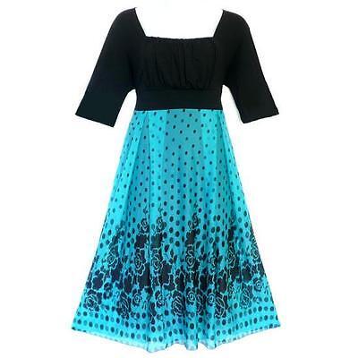 D14 -1X 2X 3X Empire Waist Polka Dots Chiffon Cocktail Holiday Dress Blue Black
