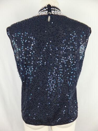 Pailletten Perlen Escada Top Blusentop 42 Bluse U Shirt Blau Luxus M CqOvCwxR8