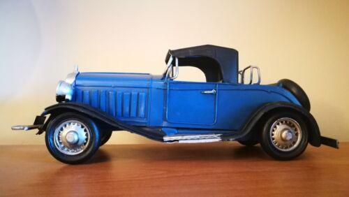 US OLDTIMER blau schwarzes Verdeck Nostalgie Blechauto Blech Modellauto 30er Jah Blechspielzeug