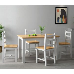 Thick Pine Solid Wood Dining Table With 4 Chairs Set Kitchen Home Furniture Ebay