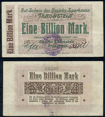 GERMANY 1 BILLION MARK STUTTGART REICHSBAHN BANKNOTE NOTGELD 1923 VF