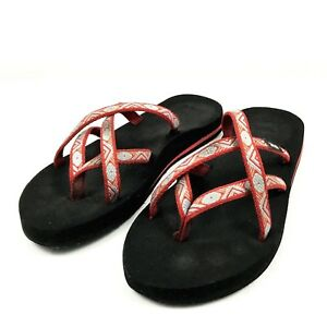 b384ae31fb3 Teva Womens Olowahu Flip Flop Size 8 N 6840 Red Blue Orange Aztec